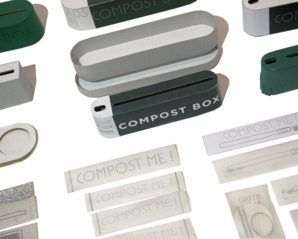 compost bins and packaging on white background