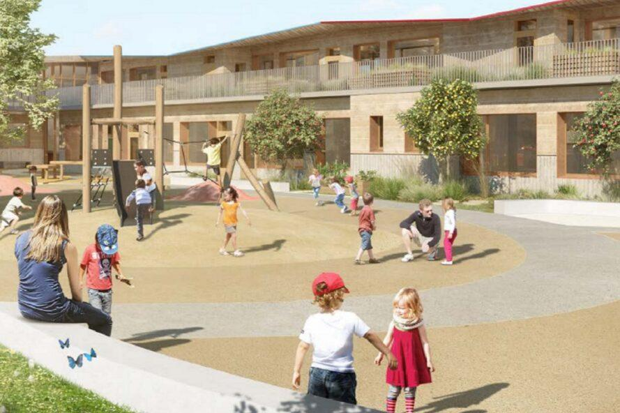 rendering of kids on a school playground