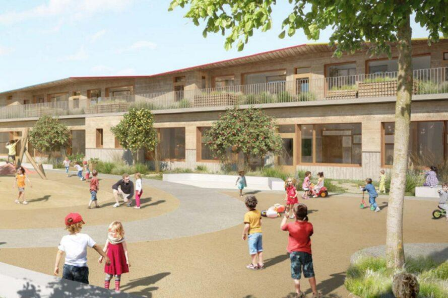 rendering of kids playing near a school building