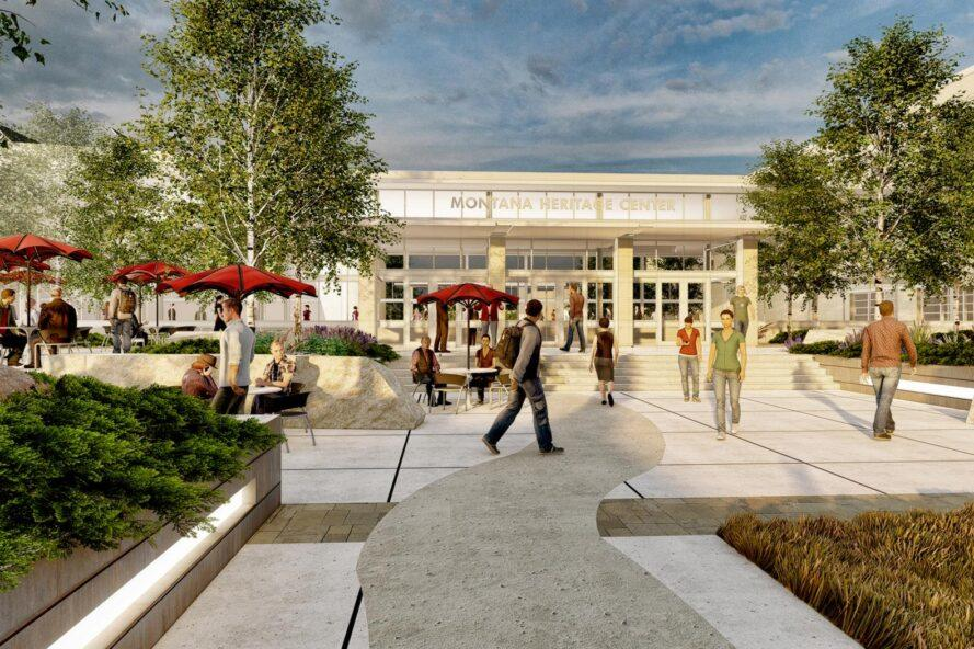 """rendering of people walking on paths near building with sign that reads """"Montana Heritage Center"""""""