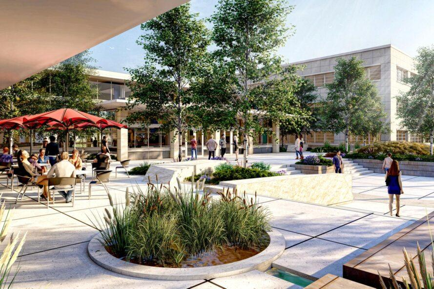 rendering of round gardens planted in a patio