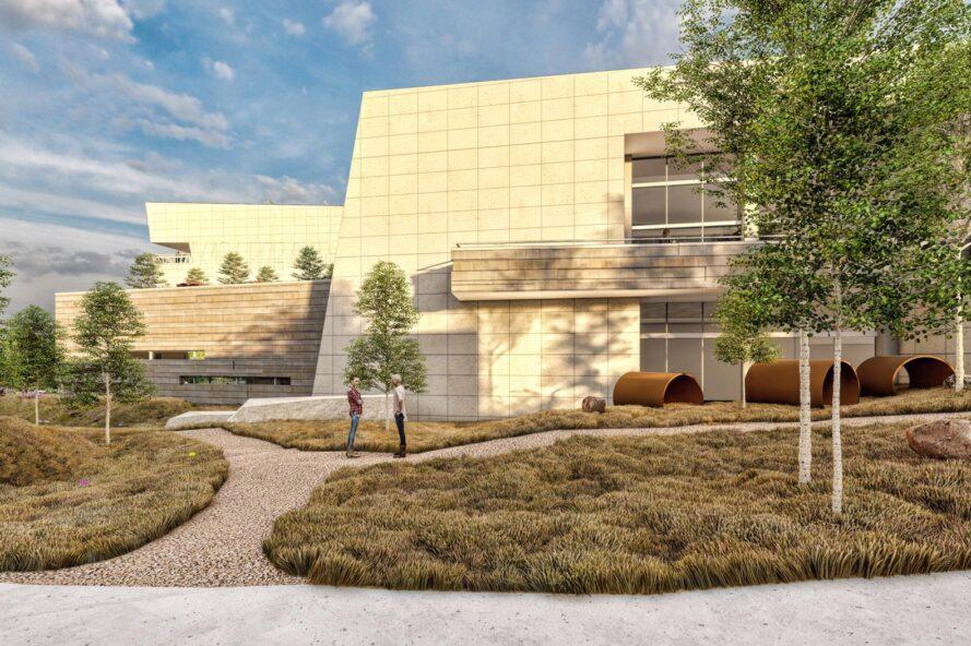 rendering of walkways and plants near large tan building