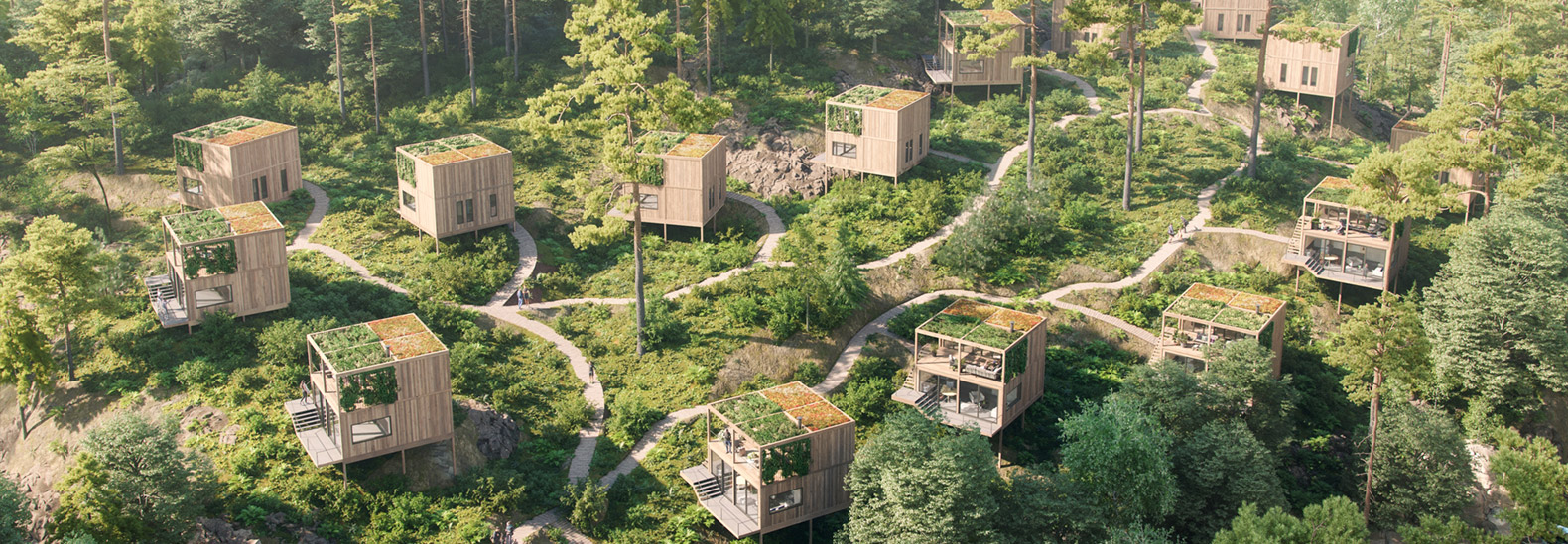 These elevated wooden cabins can only accessed via hiking trail