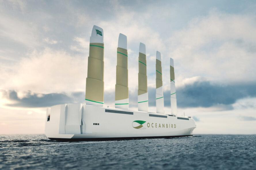 rendering of large white ship with ultra-tall sails