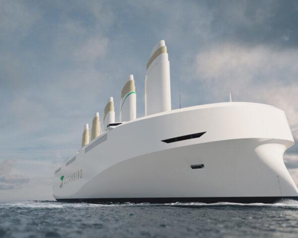 rendering of large white ship on ocean