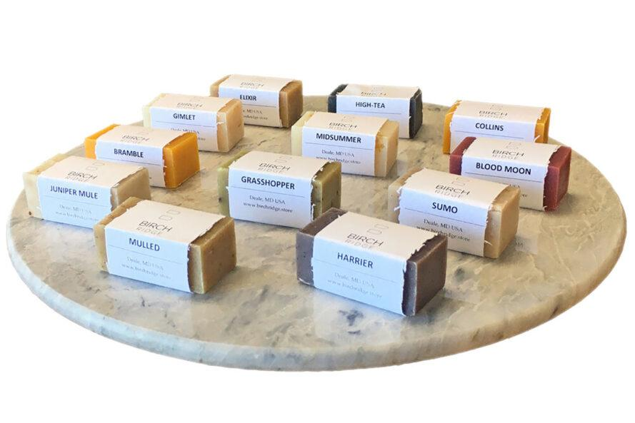 A tray of soap samples.