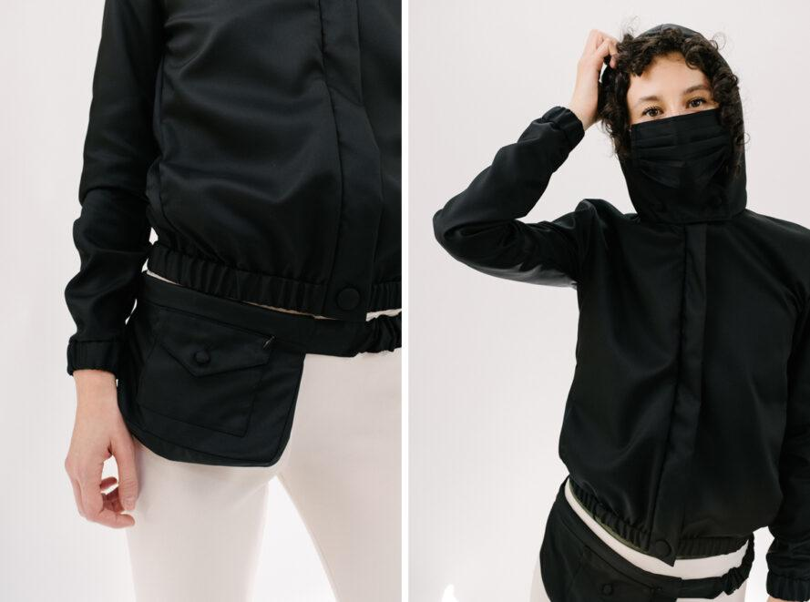 black belt bag and person wearing black hooded jacket and matching face mask