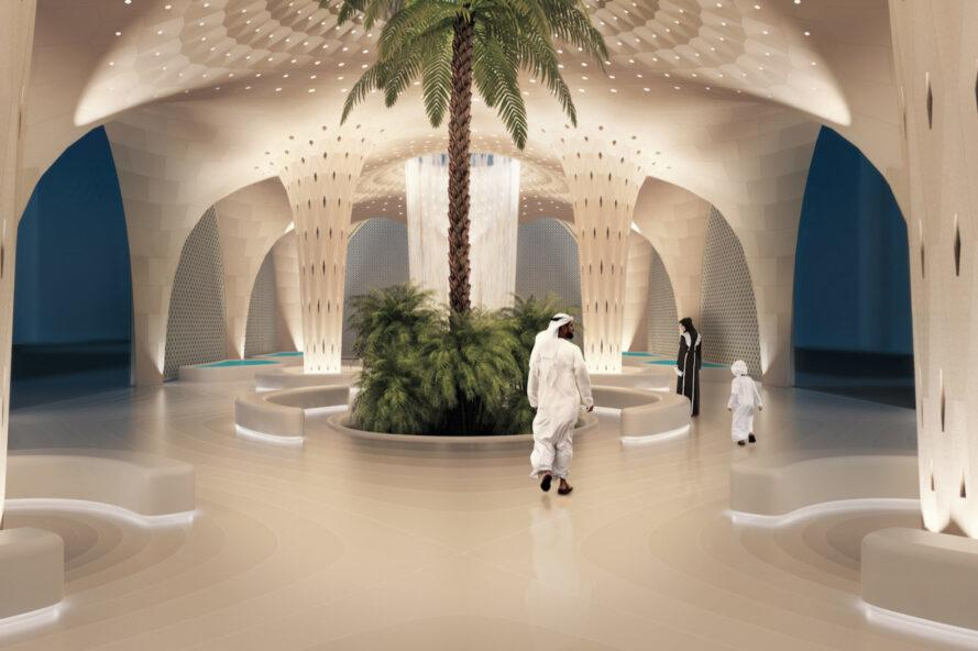 rendering of palm tree growing inside a building