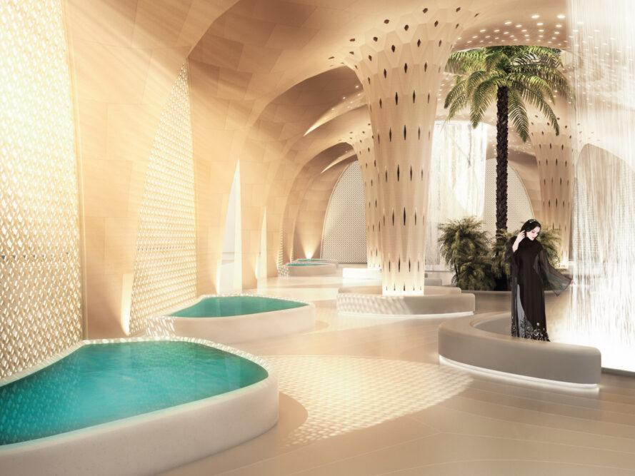 rendering of pools and palm tree inside building