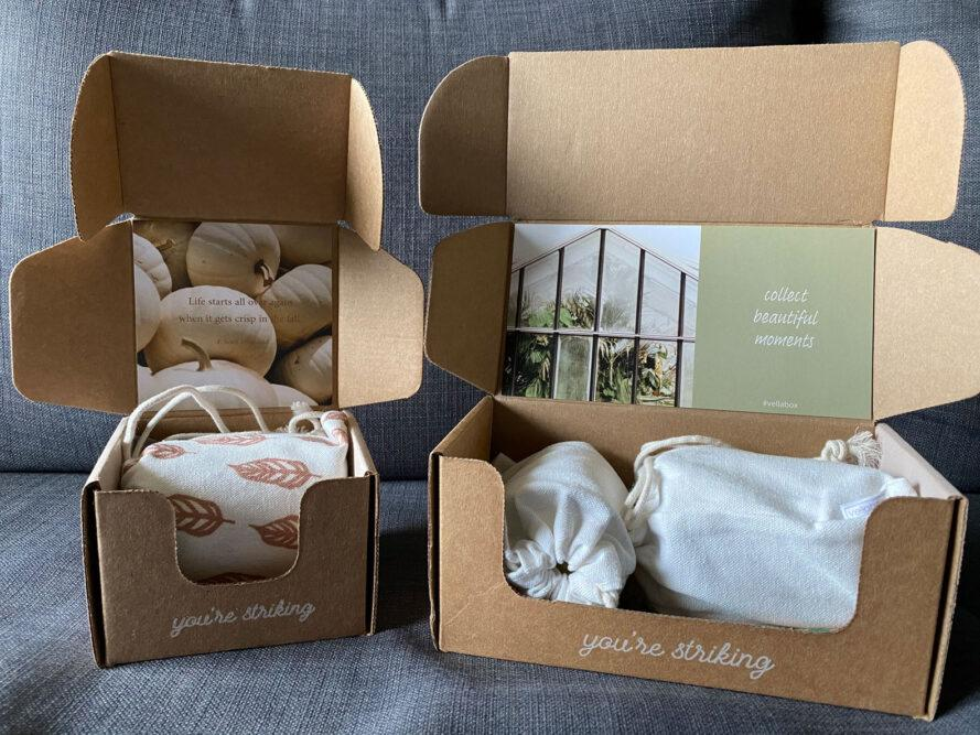 two cardboard boxes with cloth inside