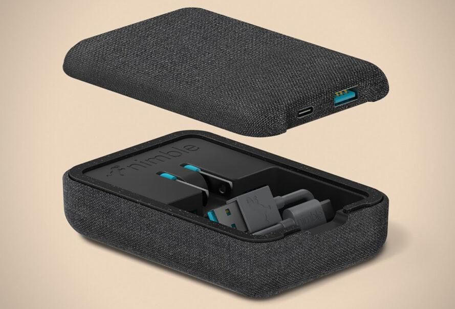 A black box with wireless charger accessories inside.