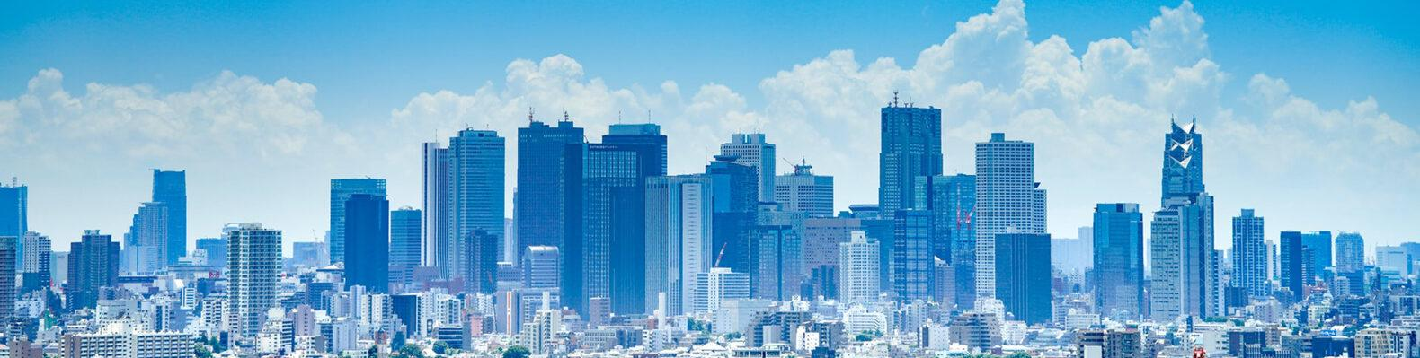 Tokyo skyline on summer day with blue skies