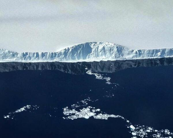 aerial view of edge of A68a Iceberg