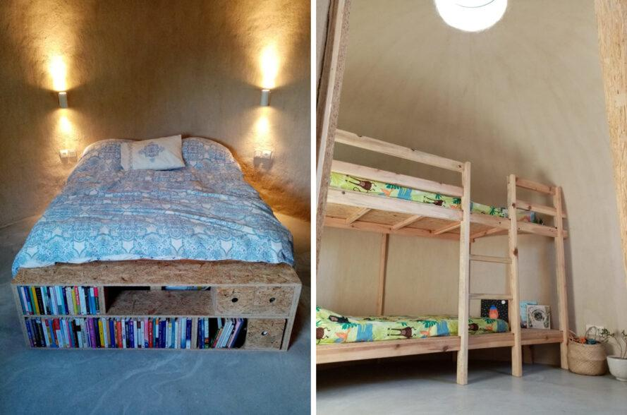 full bed and wood bunk beds in dome home with round skylights and windows
