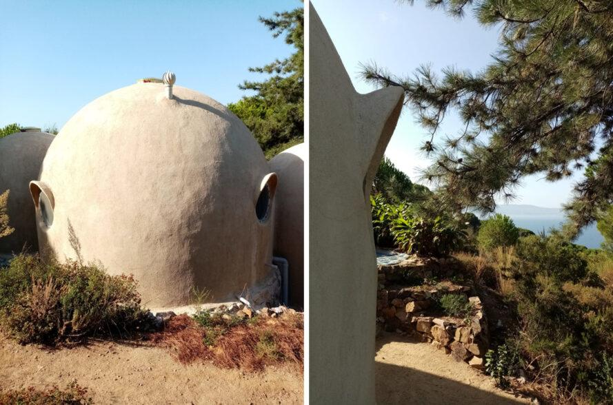 three connected domes made from rammed earth