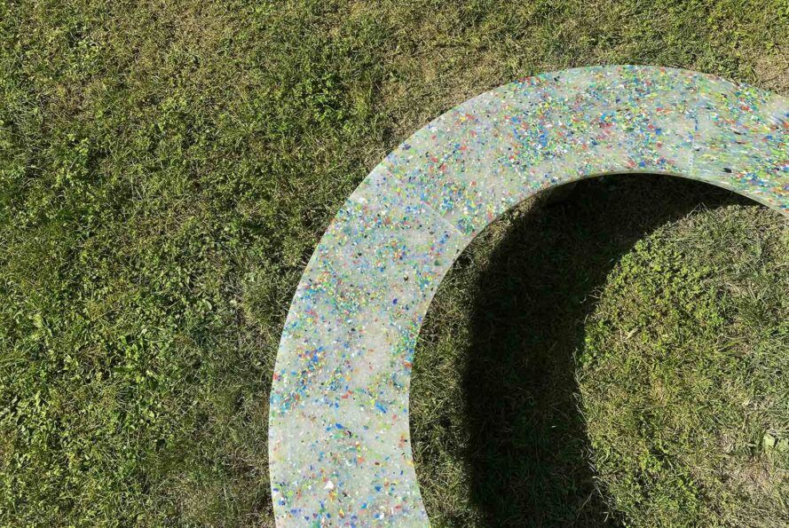 An overhead view of a plastic Circula bench.