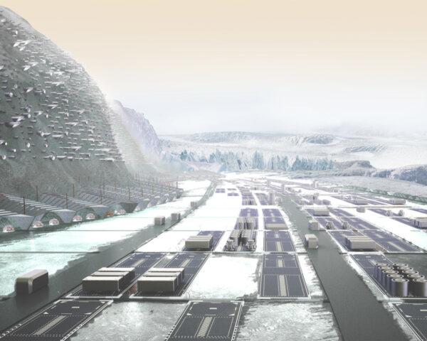 A cold, mountainous landscape with various geometric structures places around dark lanes.