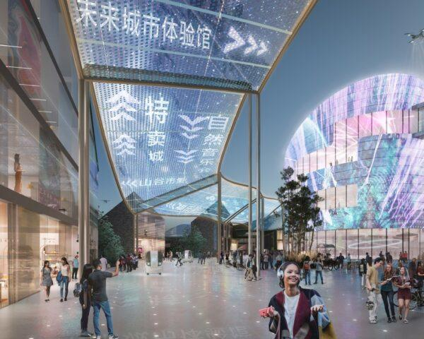 rendering of digital screens above a walkway and on buildings