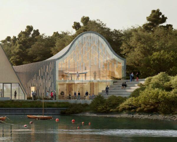rendering of massive bell-shaped museum building with glass wall