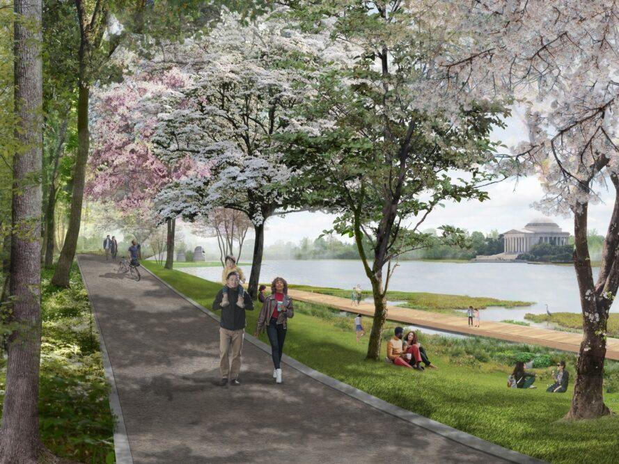 rendering of people walking on path shaded by cherry blossom trees