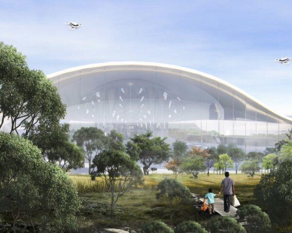 rendering of flying cars above an airport