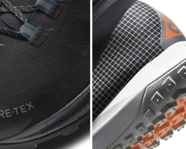Two images: on the left, a detail close-up of the tip of a pair of black shoes. On the right, a detail close-up of the heel of a pair of black and white shoes.