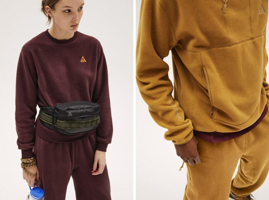 Two photos: to the left, a person wearing a burgundy colored Nike sportswear outfit. To the right, a person wearing a marigold colored Nike sportswear outfit.