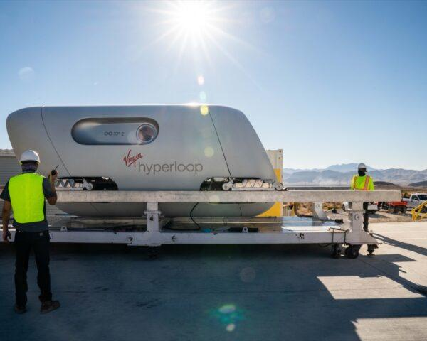 white Virgin Hyperloop transit pod