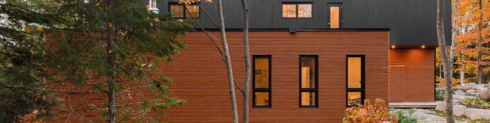 charred and warm-toned wood home