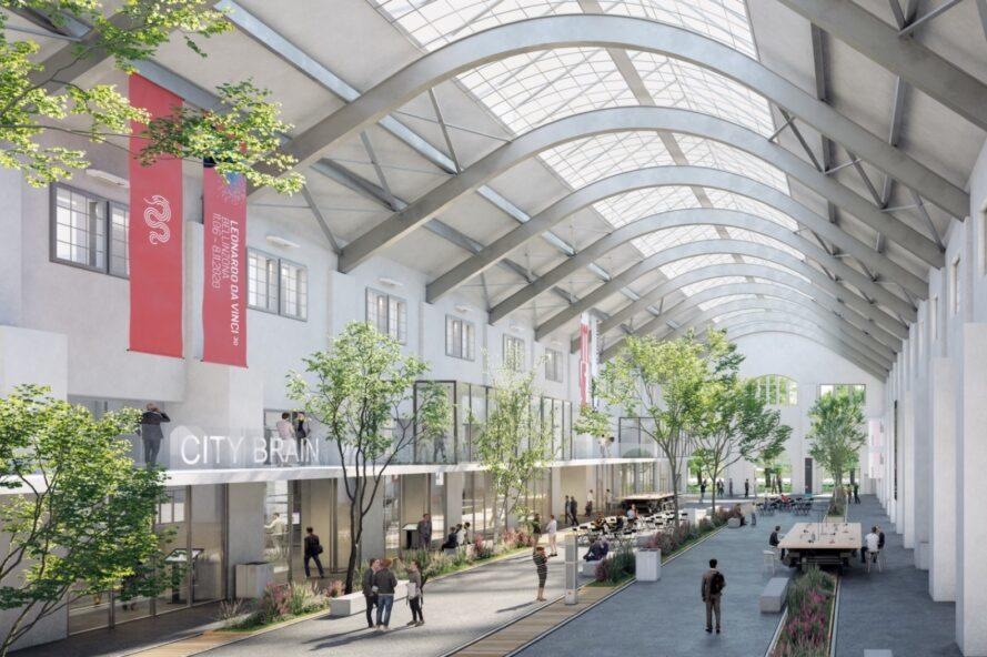 rendering of arched ceiling full of skylights over a retail center below