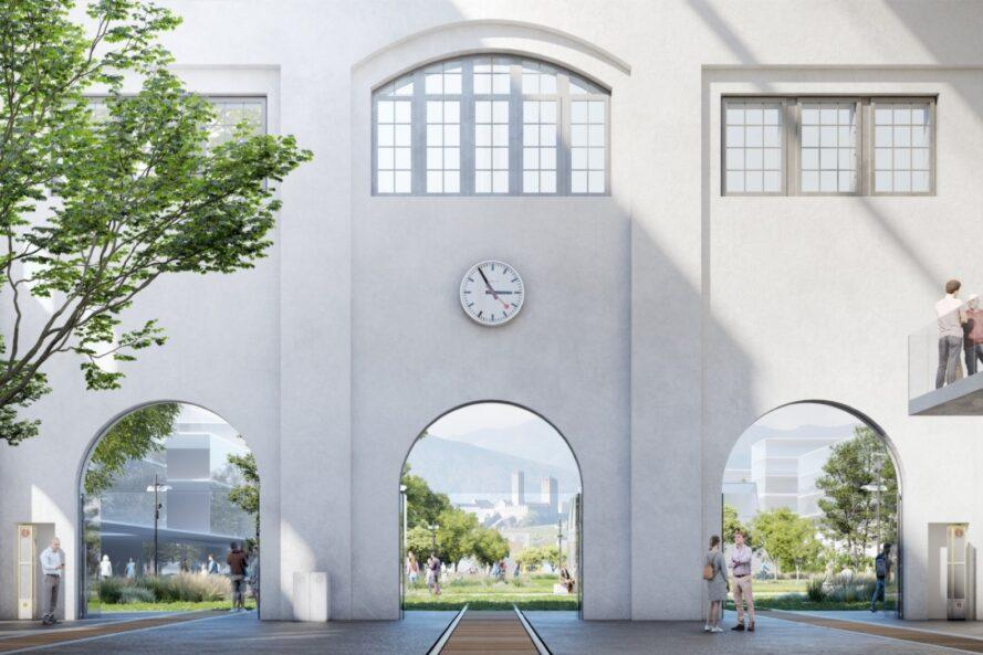 rendering of old train station leading to a lush park