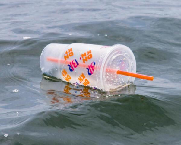 Dunkin' Donuts plastic drink cup floating in Atlantic Ocean