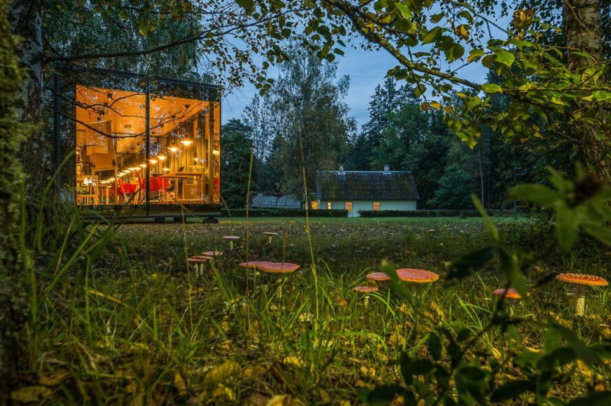 glass cabin with transparent walls lit up at dusk