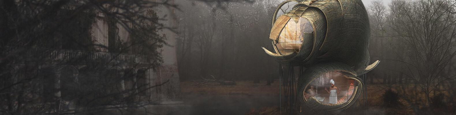 wood, round treehouse in dark forest rendering