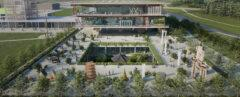 A rendering of a green courtyard in front of the new KMUA.