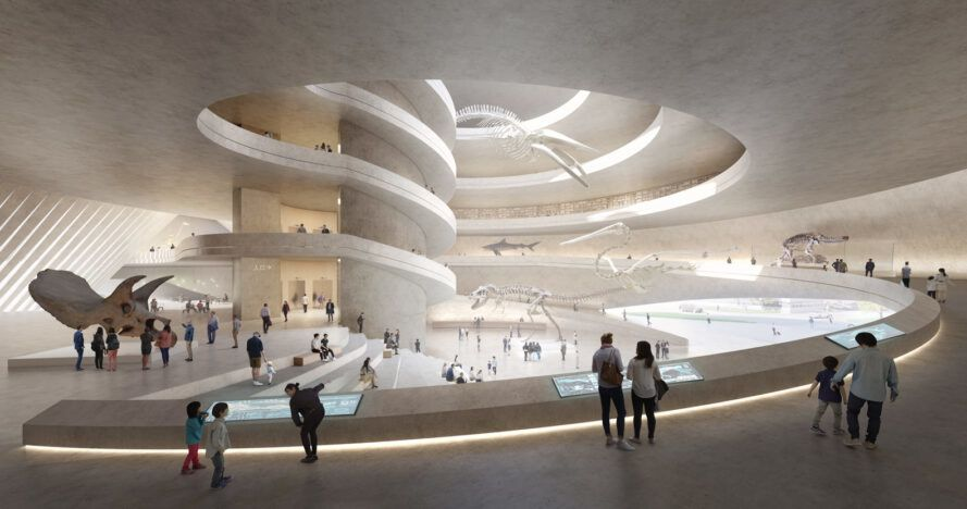 rendering of people looking at exhibits inside a museum