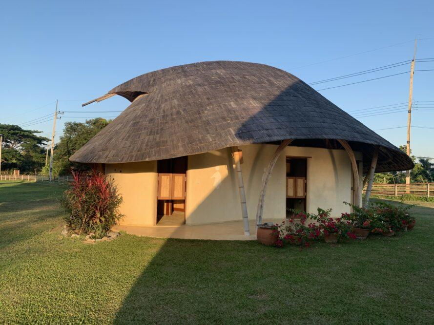 mushroom-shaped building with thatched roof