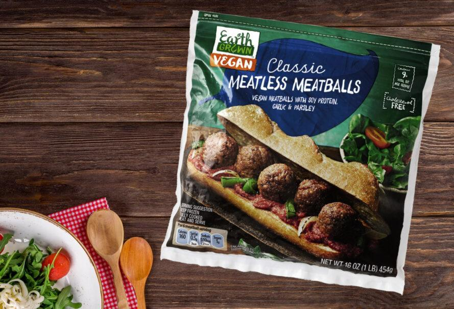 A package of Aldi Classic Meatless Meatballs.