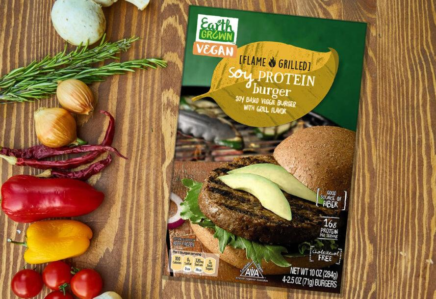A box of Aldi Soy Protein Burgers.