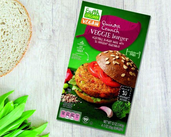 A box of Aldi Quinoa Crunch Veggie Burgers.