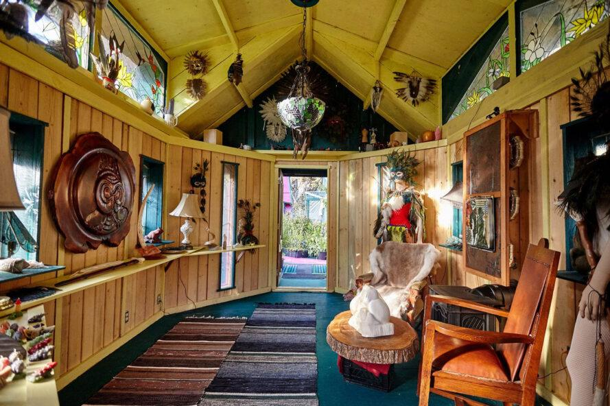 houseboat interior filled with vintage art and decor
