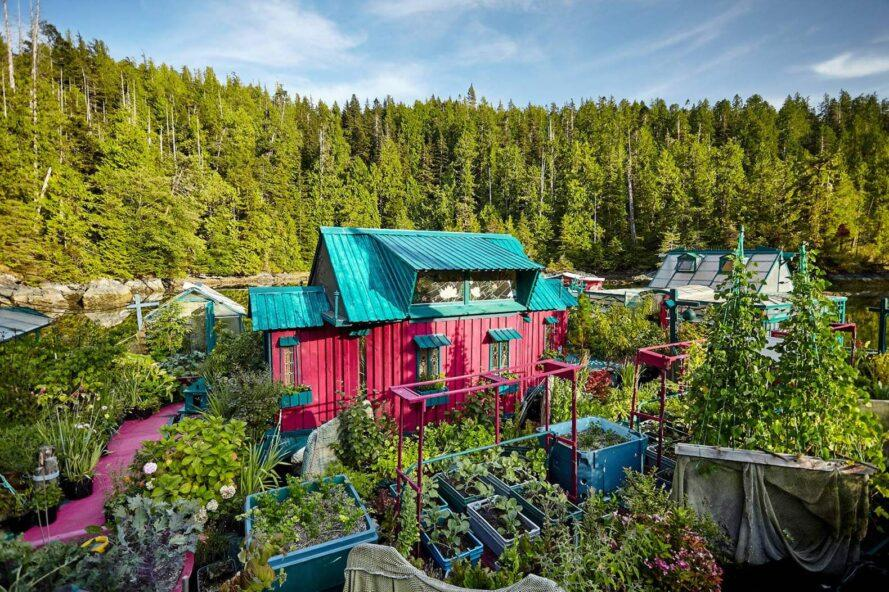 fuchsia and teal building surrounded by gardens