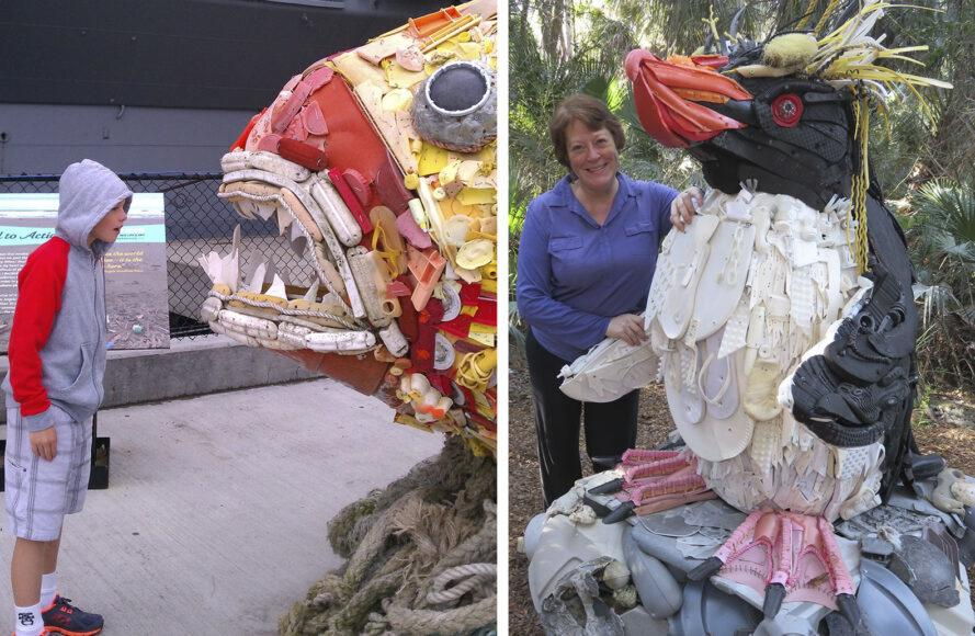 Two images: to the left, a child looking at a sculpture of a fish. To the right, a person standing next to a puffin sculpture.
