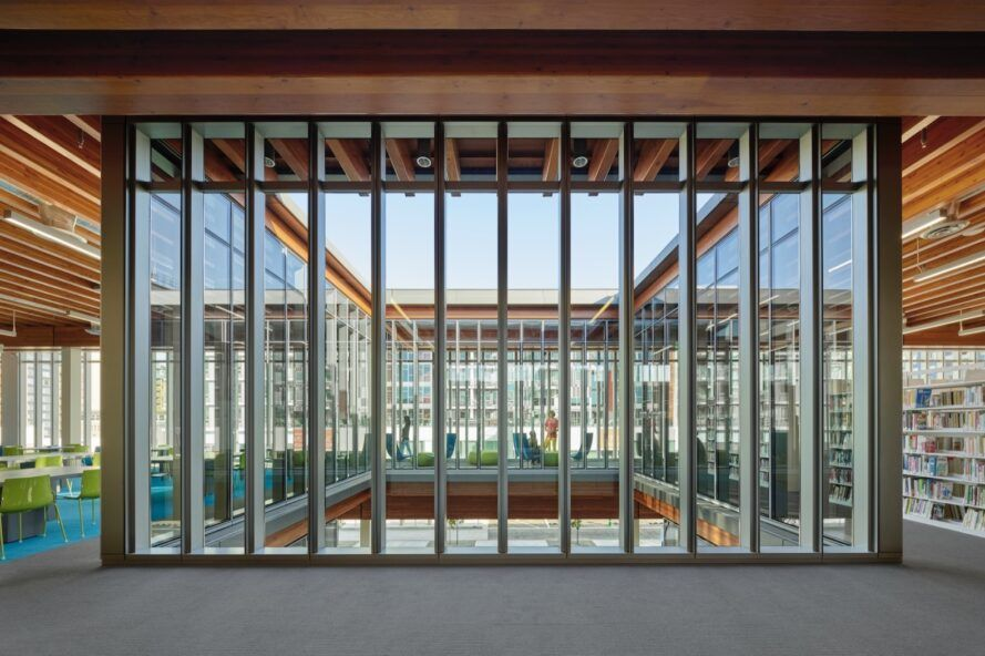 building with metal-framed glass walls
