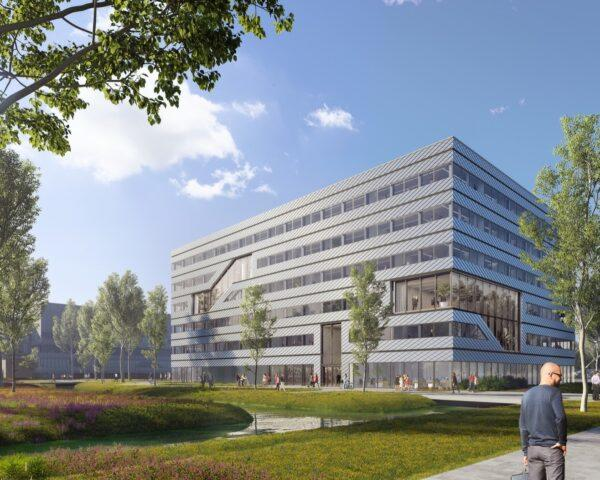 rendering of large metal office building