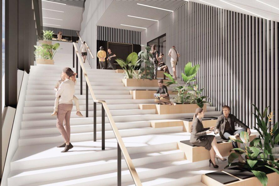 rendering of people sitting on benches built into a wide stairwell