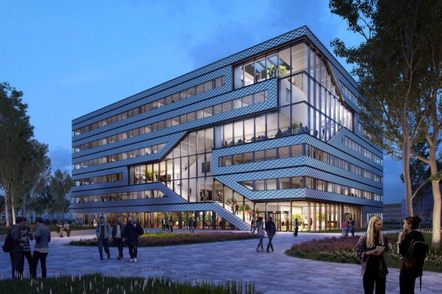 rendering of large metal office building lit up at night