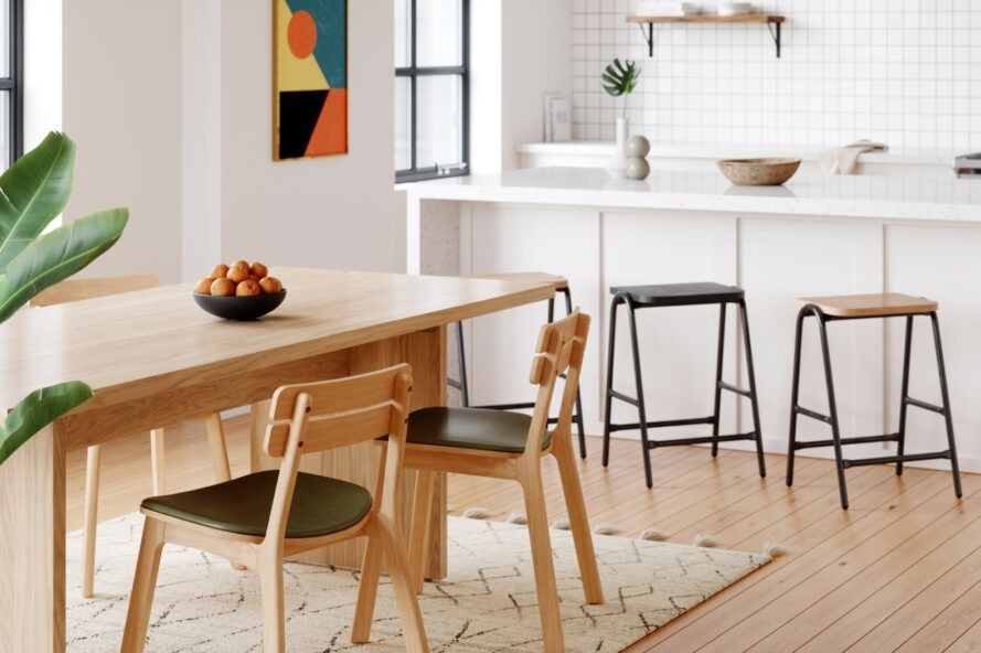 light wood dining chairs and table