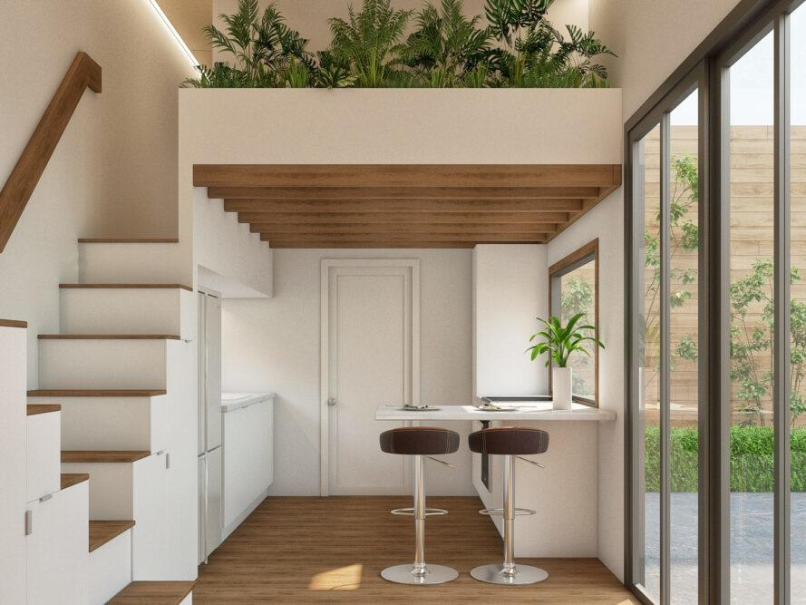 rendering of white tiny home interior with wall planters