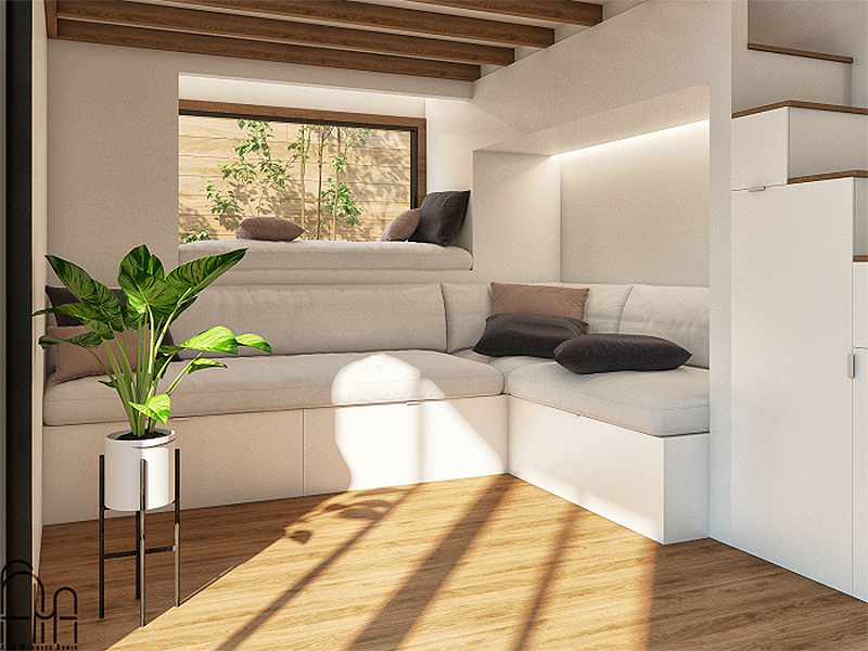 rendering of white sofa and day bed in tiny home living room
